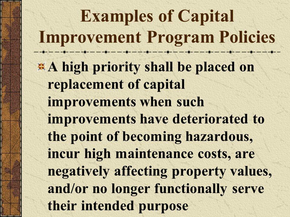Examples of Capital Improvement Program Policies