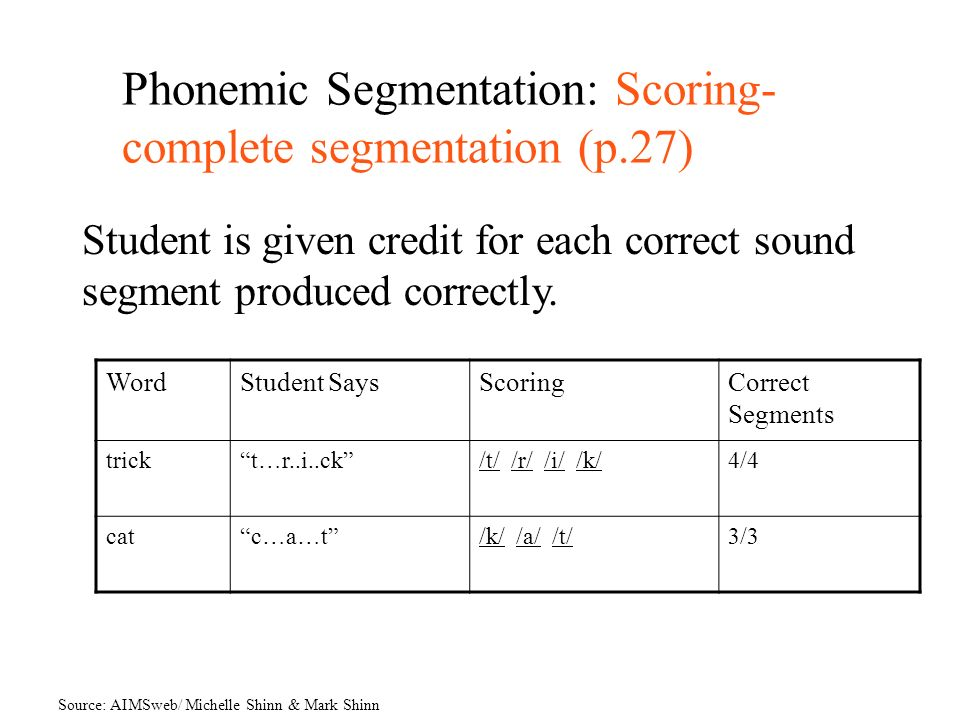 Phonemic Segmentation: Scoring-complete segmentation (p.27)