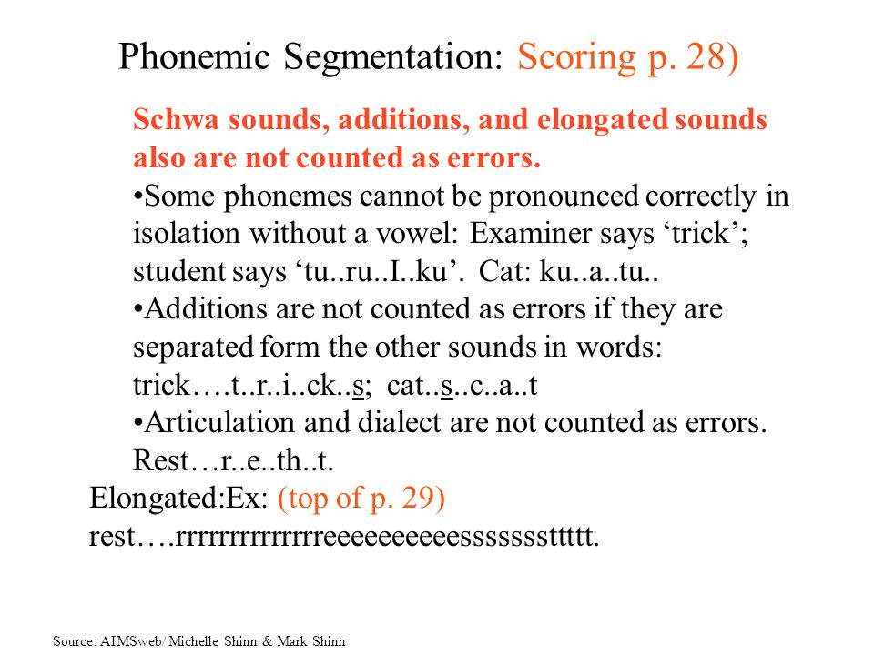 Phonemic Segmentation: Scoring p. 28)