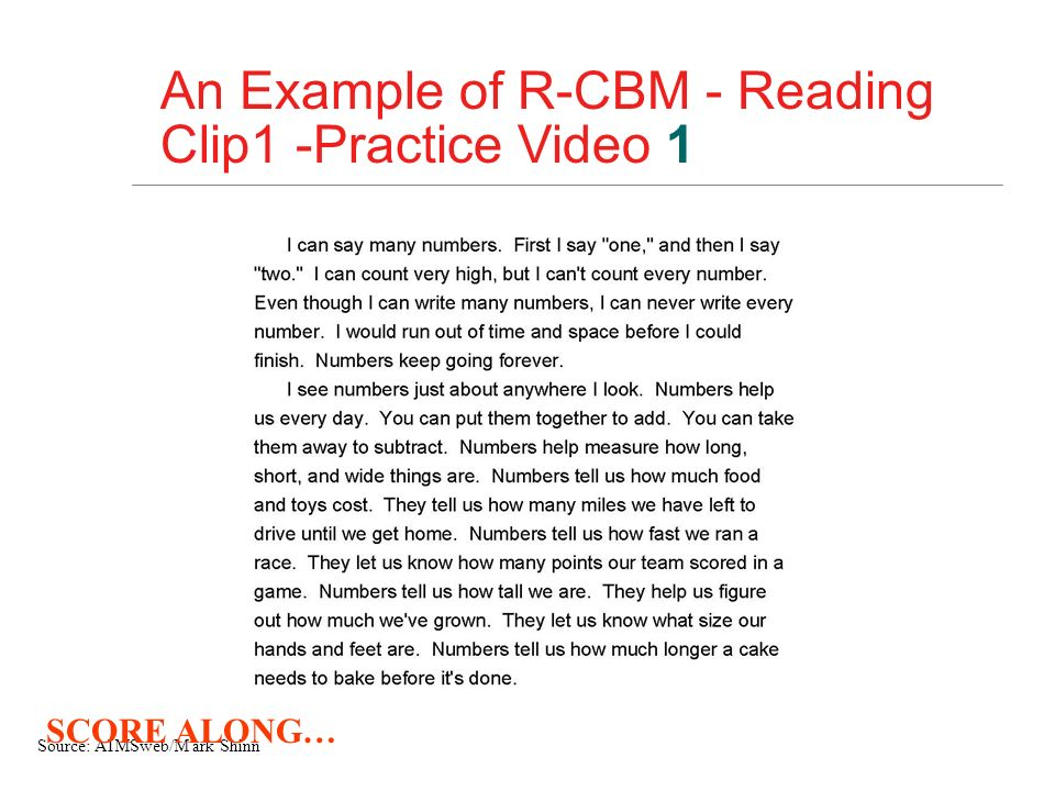An Example of R-CBM - Reading Clip1 -Practice Video 1