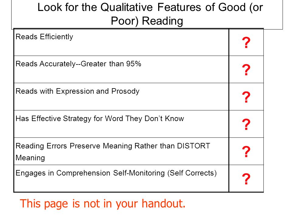 Look for the Qualitative Features of Good (or Poor) Reading