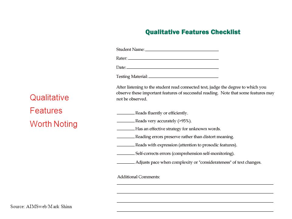 Qualitative Features Worth Noting Source: AIMSweb/M ark Shinn