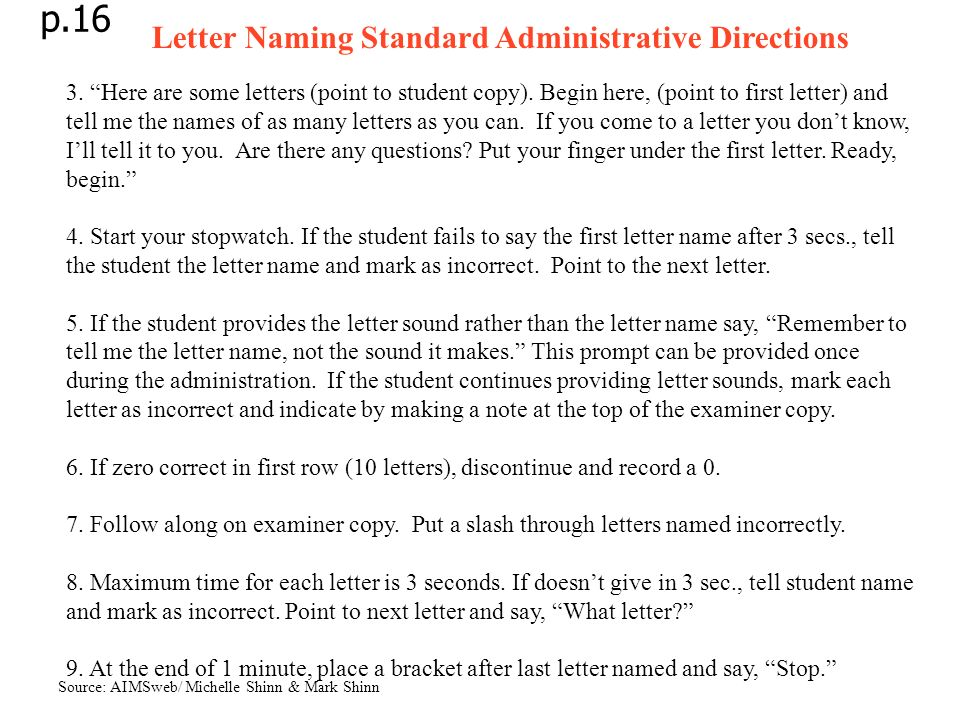 p.16 Letter Naming Standard Administrative Directions