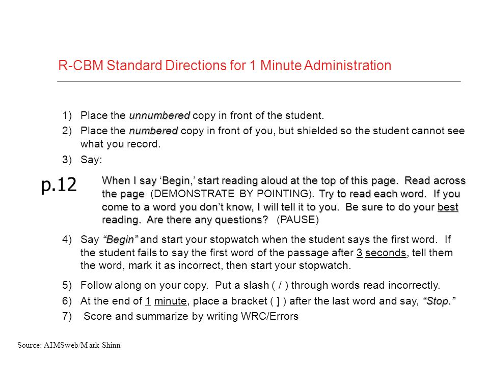 p.12 R-CBM Standard Directions for 1 Minute Administration