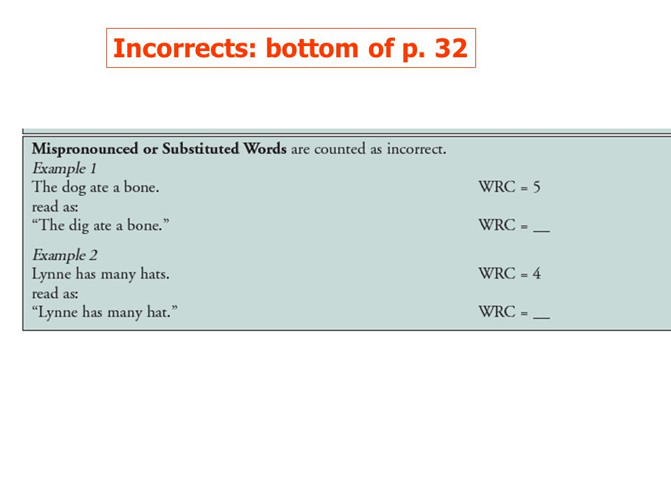 Incorrects: bottom of p. 32