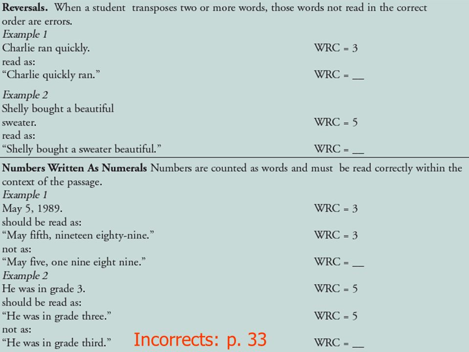 Incorrects: p. 33