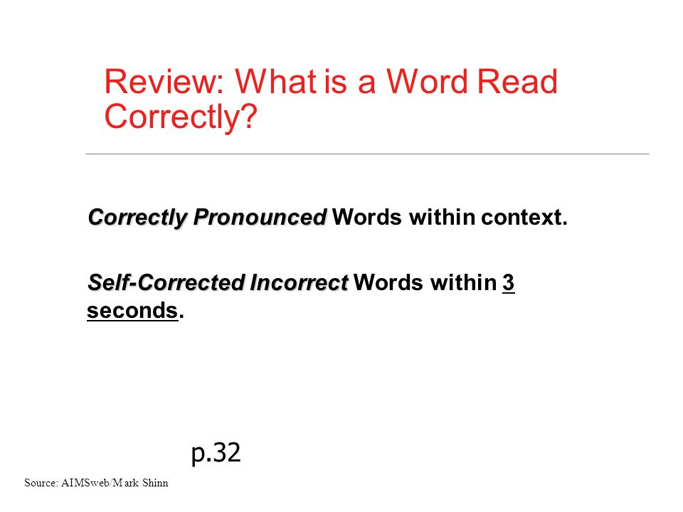 Review: What is a Word Read Correctly