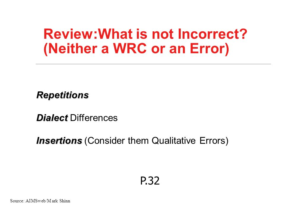 Review:What is not Incorrect (Neither a WRC or an Error)