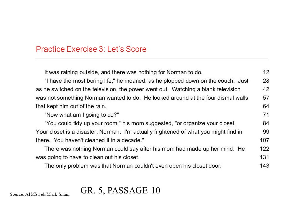 GR. 5, PASSAGE 10 Practice Exercise 3: Let's Score