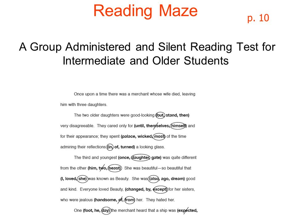 Reading Maze A Group Administered and Silent Reading Test for Intermediate and Older Students