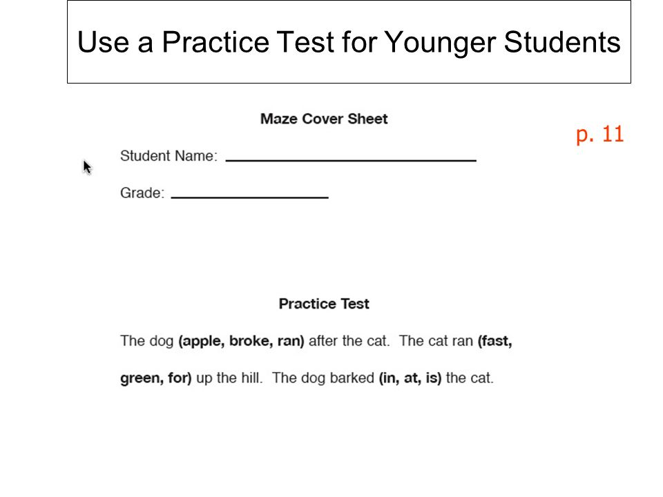 Use a Practice Test for Younger Students