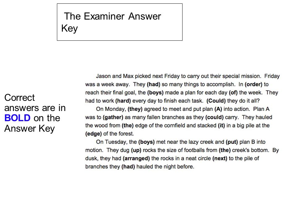 The Examiner Answer Key
