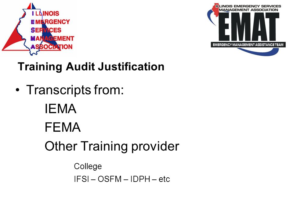 Training Audit Justification