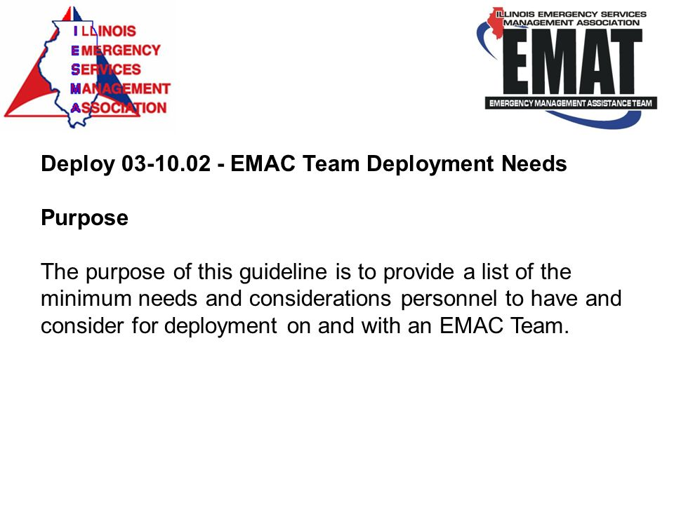 Deploy 03-10.02 - EMAC Team Deployment Needs