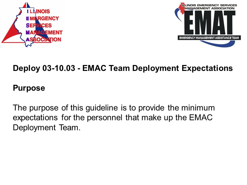 Deploy 03-10.03 - EMAC Team Deployment Expectations