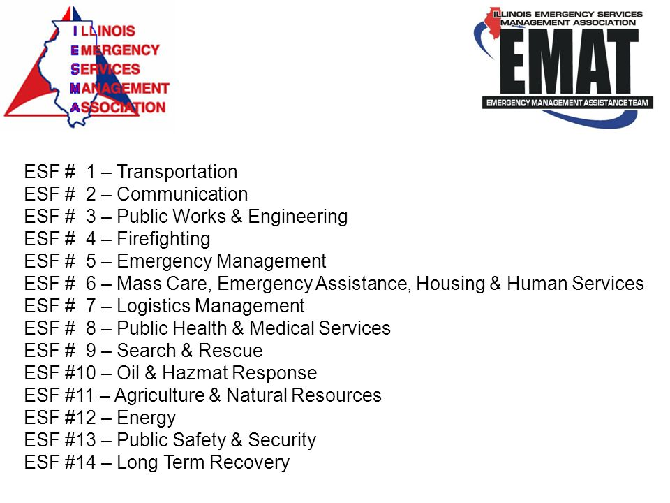 ESF # 1 – Transportation ESF # 2 – Communication. ESF # 3 – Public Works & Engineering. ESF # 4 – Firefighting.