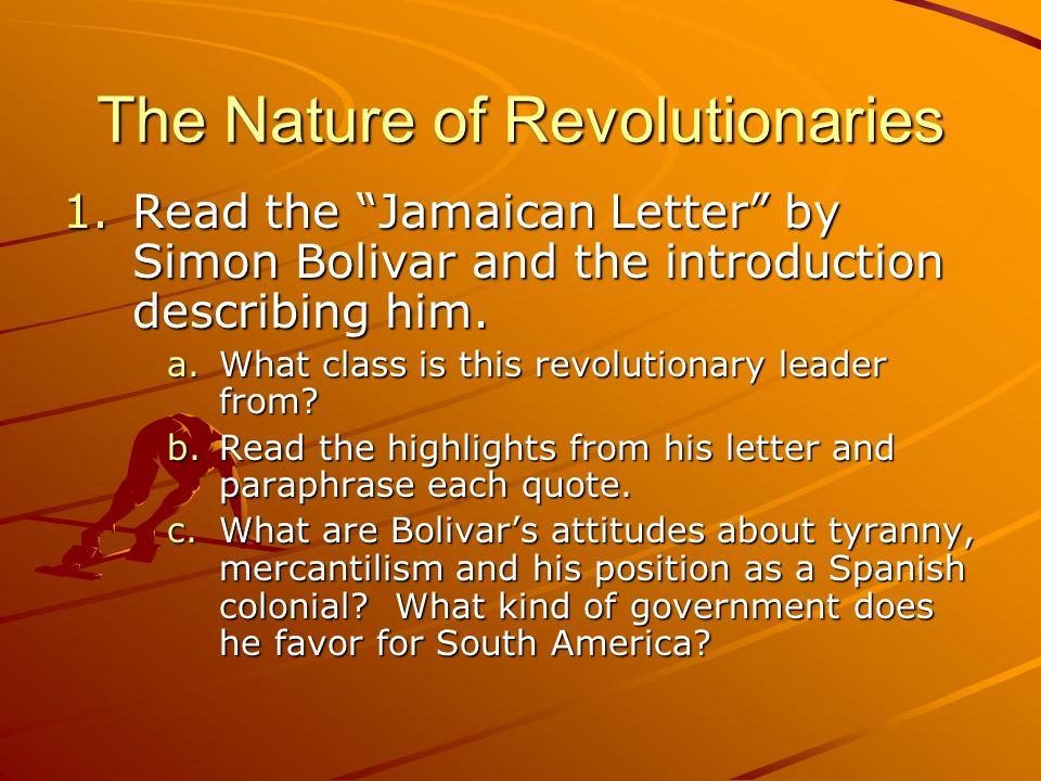 the jamaica letter simon bolivar Simon bolivar gained independence for 5 nations on his own the effect of these new caudillos has affected latin american history until  jamaica letter.