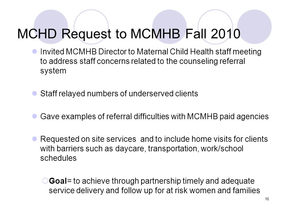 MCHD Request to MCMHB Fall 2010