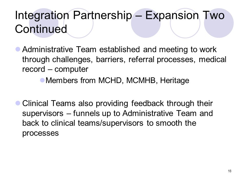 Integration Partnership – Expansion Two Continued