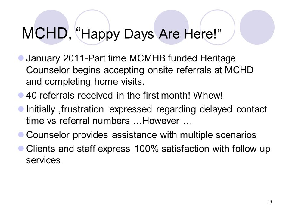 MCHD, Happy Days Are Here!
