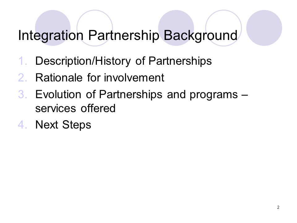 Integration Partnership Background