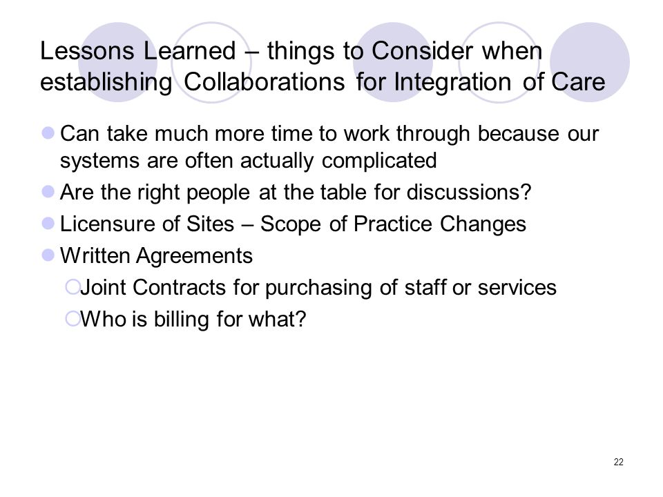 Lessons Learned – things to Consider when establishing Collaborations for Integration of Care