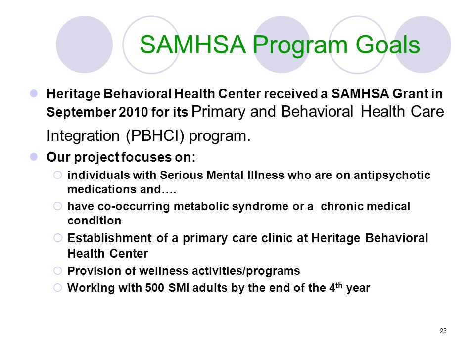 SAMHSA Program Goals