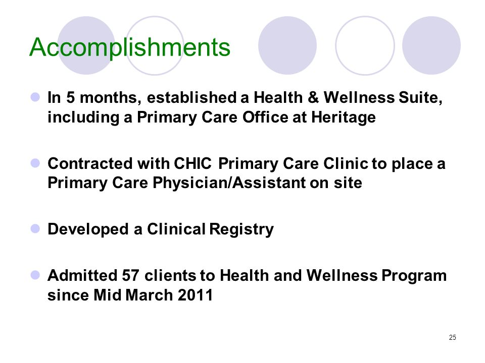Accomplishments In 5 months, established a Health & Wellness Suite, including a Primary Care Office at Heritage.