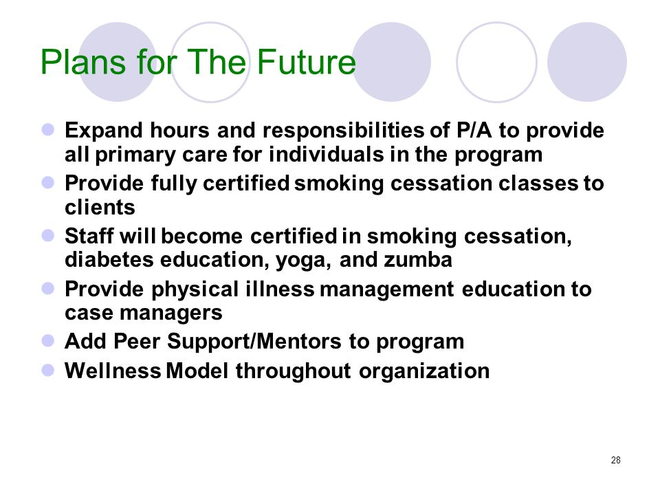 Plans for The Future Expand hours and responsibilities of P/A to provide all primary care for individuals in the program.