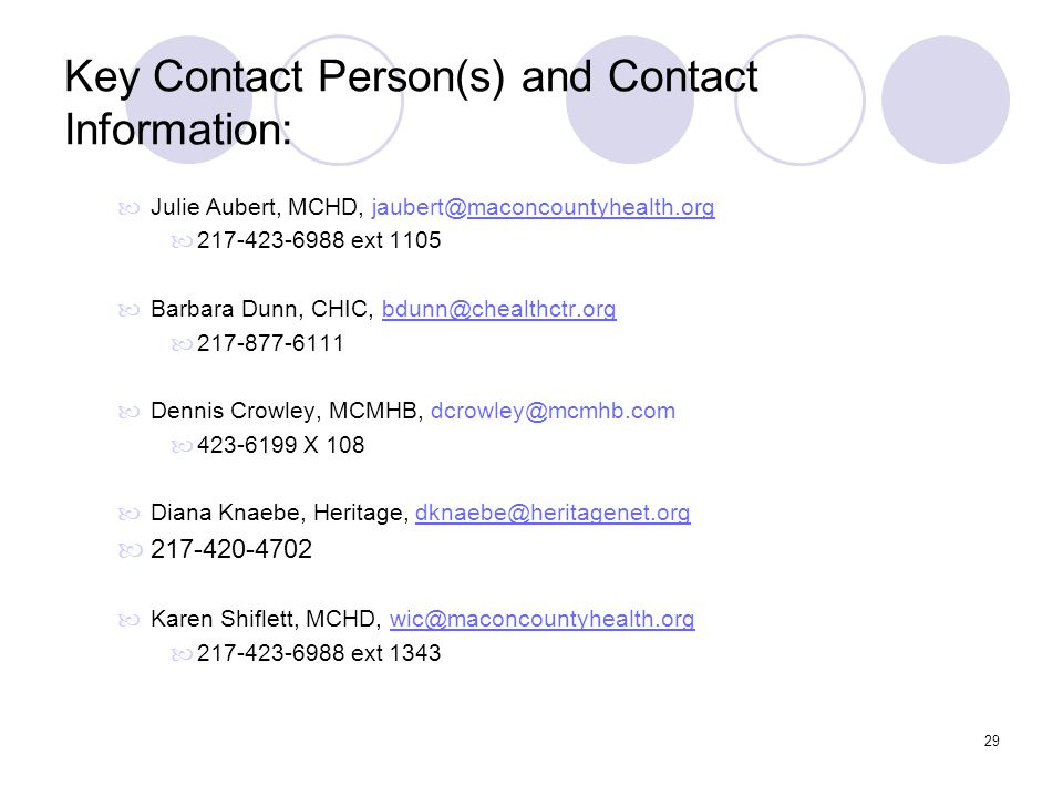 Key Contact Person(s) and Contact Information: Julie Aubert, MCHD, jaubert@maconcountyhealth.org. 217-423-6988 ext 1105.