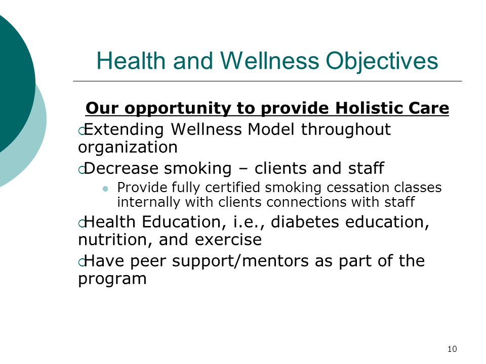 Health and Wellness Objectives