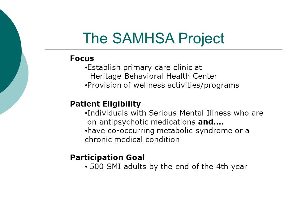 The SAMHSA Project Focus Establish primary care clinic at
