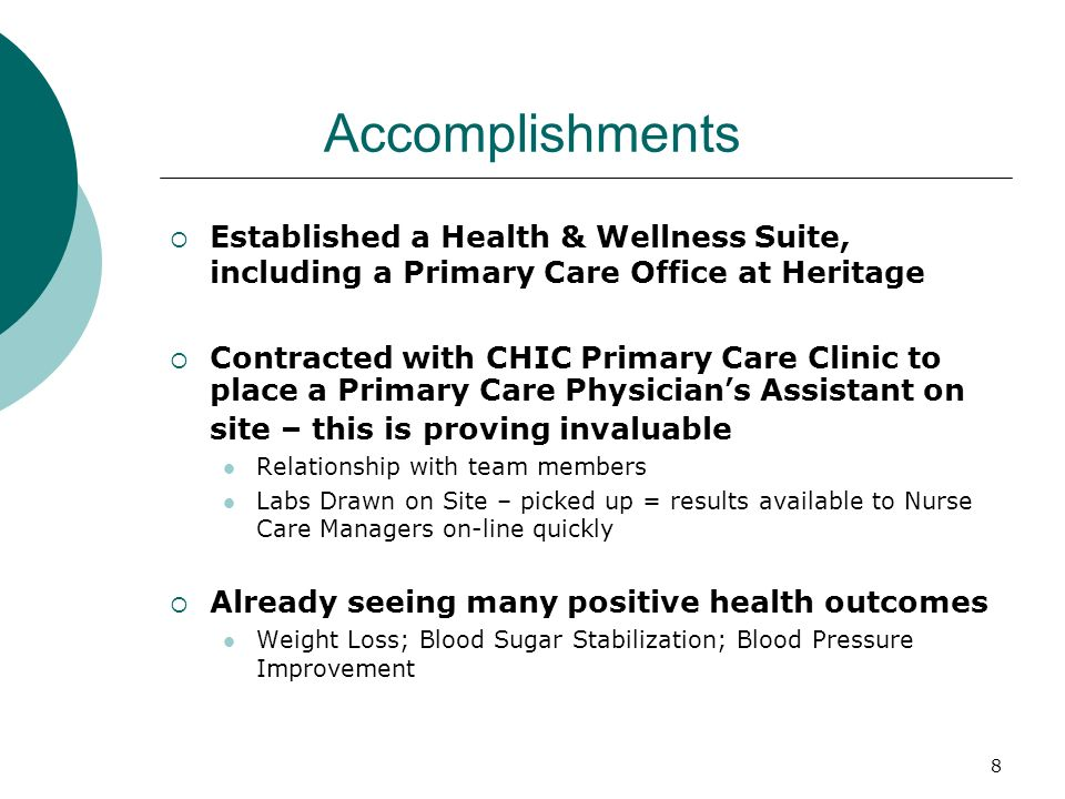 Accomplishments Established a Health & Wellness Suite, including a Primary Care Office at Heritage.