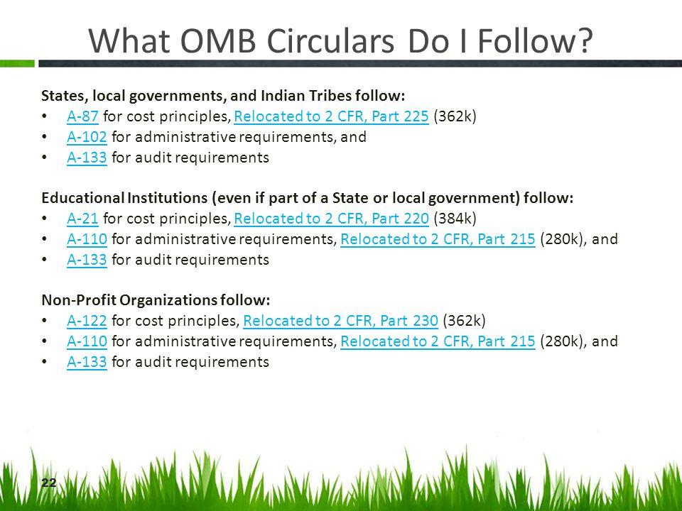What OMB Circulars Do I Follow