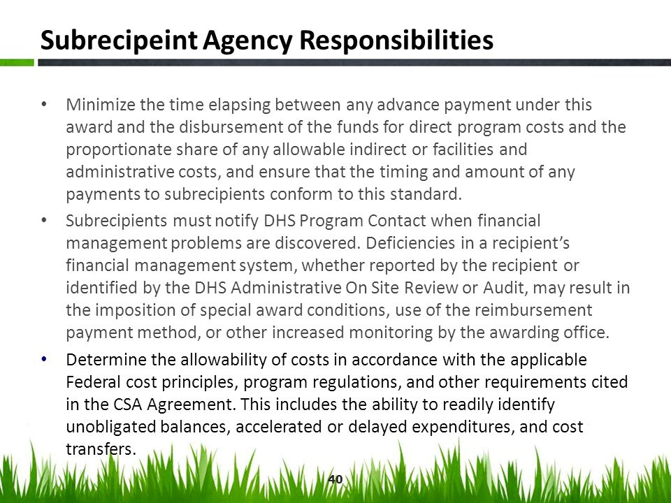 Subrecipeint Agency Responsibilities