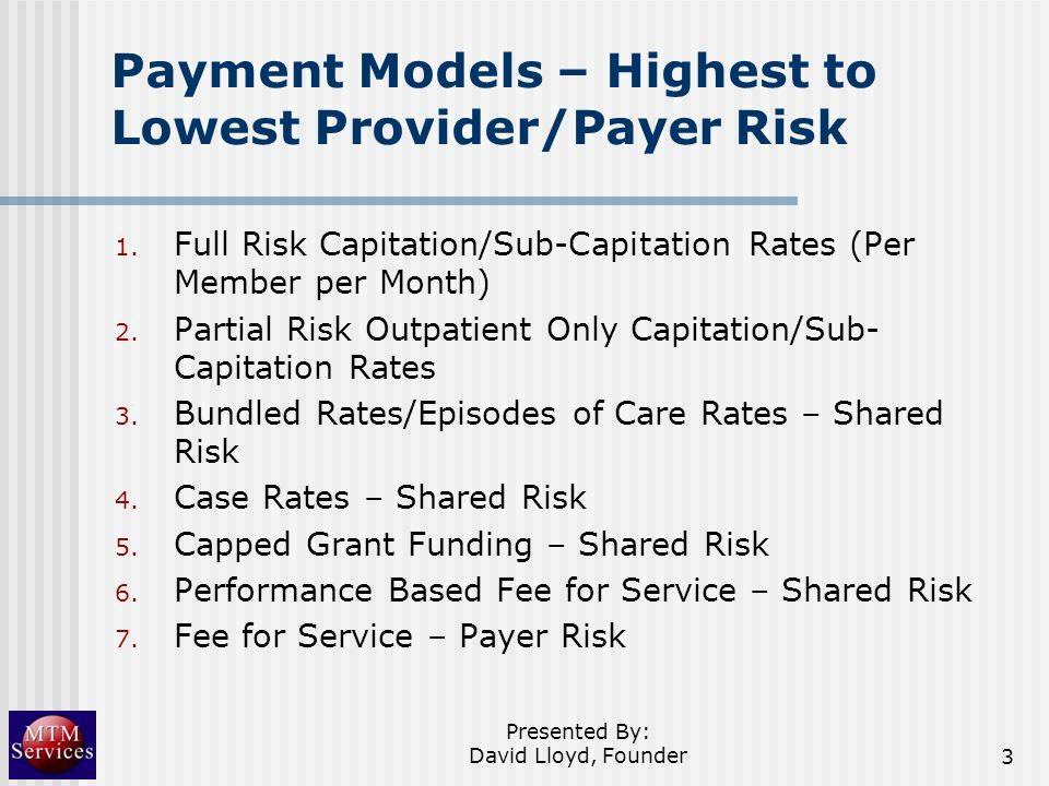Payment Models – Highest to Lowest Provider/Payer Risk
