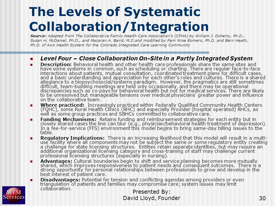 The Levels of Systematic Collaboration/Integration