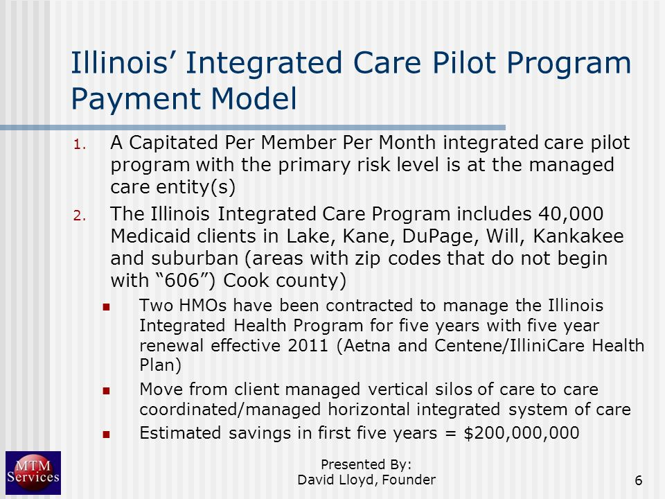 Illinois' Integrated Care Pilot Program Payment Model