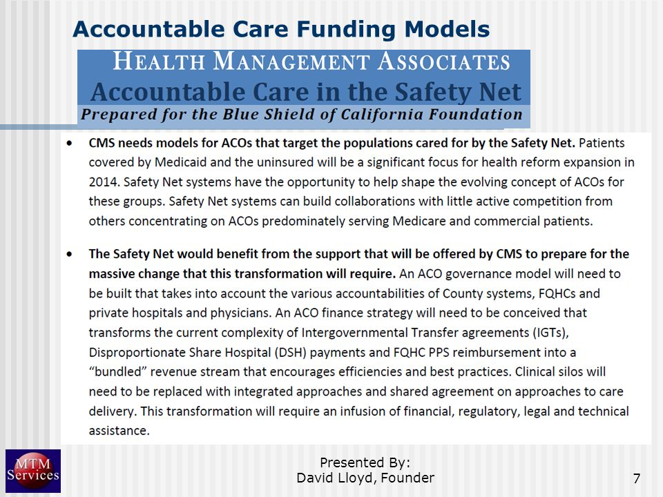 Accountable Care Funding Models