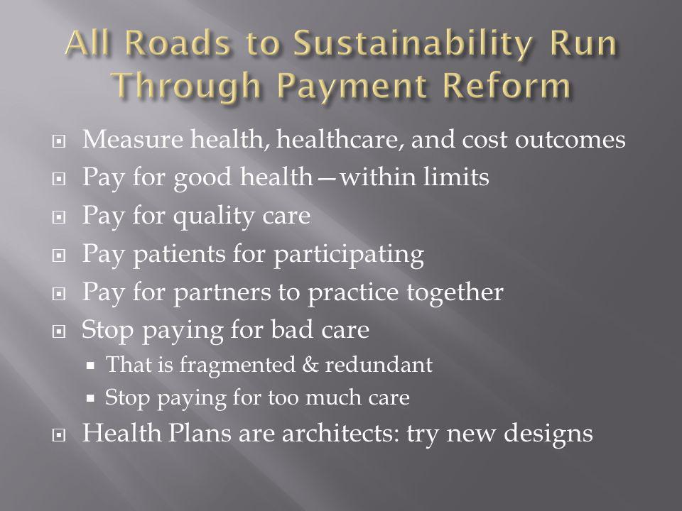 All Roads to Sustainability Run Through Payment Reform