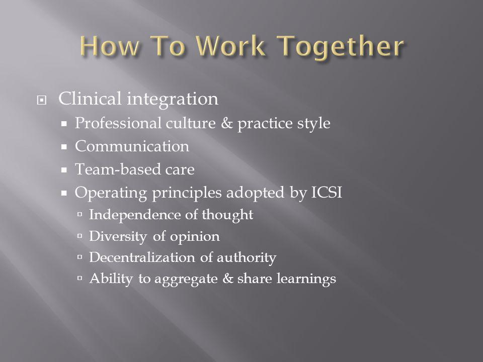 How To Work Together Clinical integration