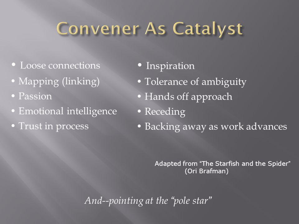 Convener As Catalyst • Loose connections • Inspiration