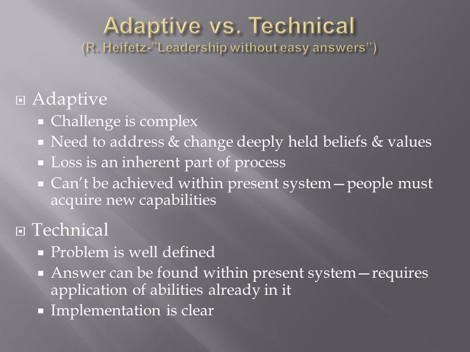 Adaptive vs. Technical (R. Heifetz- Leadership without easy answers )