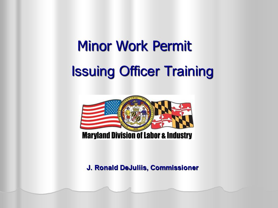 Issuing Officer Training J. Ronald DeJuliis, Commissioner