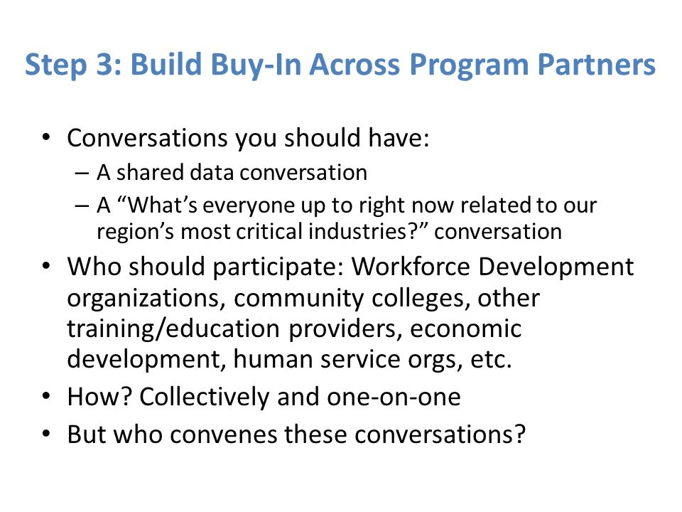 Step 3: Build Buy-In Across Program Partners