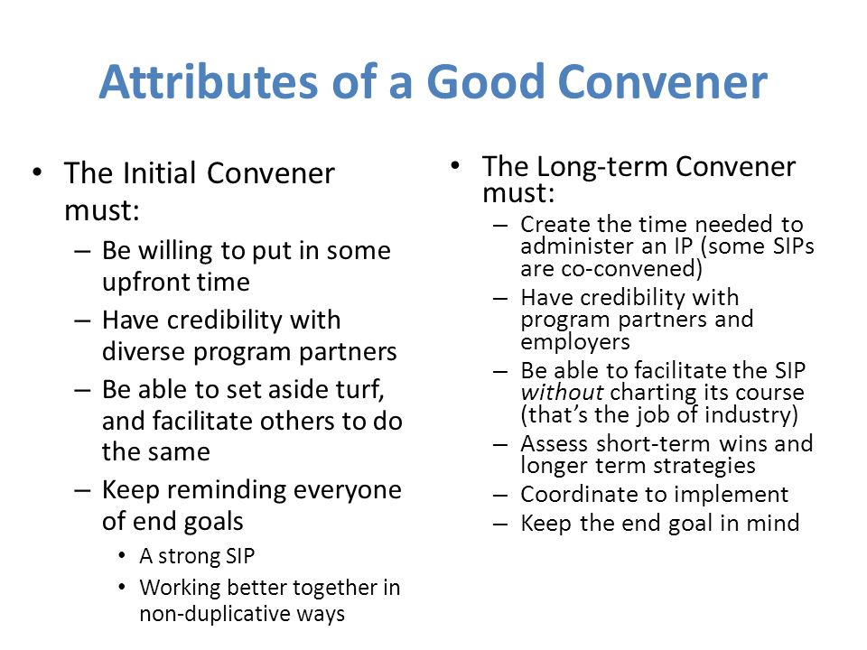 Attributes of a Good Convener