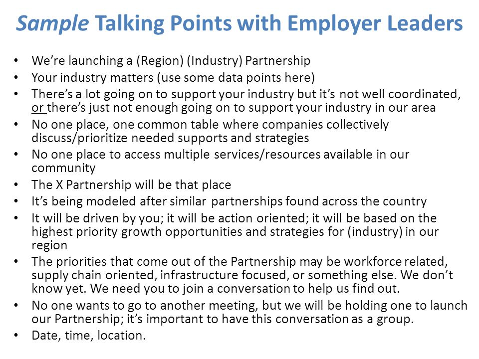Sample Talking Points with Employer Leaders