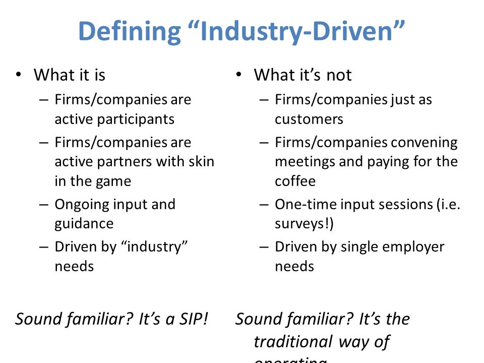 Defining Industry-Driven