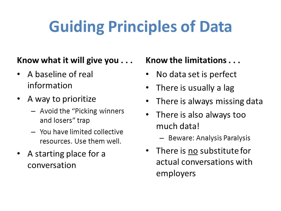 Guiding Principles of Data
