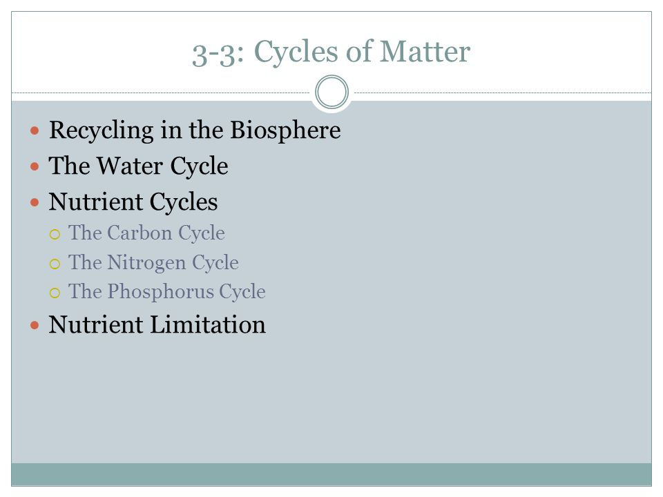 3-3: Cycles of Matter Recycling in the Biosphere The Water Cycle